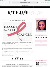 A lovely blog post from Katie Jane Online to support #BloggersAgainstCancer