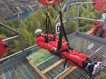 Ready for the off - it's a long way down !!