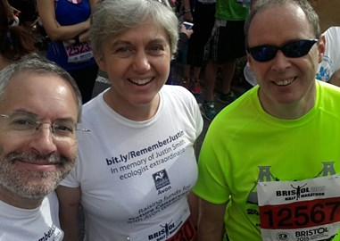 At the start of the 2015 Bristol Half Marathon and it was all smiles!