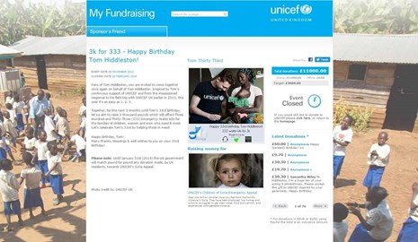 Fundraiser for Tom's 33rd birthday in collab w/ Songs for Tom & Hiddles Army on UNICEF UK's former fundraising platform. Raised £11000.00