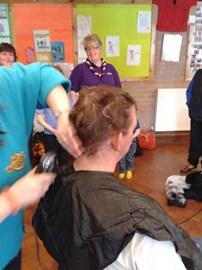 Dad getting a haircut