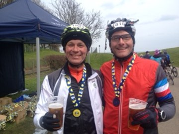 Frank and Martin with a pint at the end of the Tour de Yorkshire!