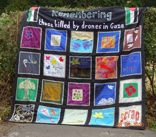Sheffields Women's banner in memory of those killed by drones