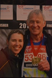 Jim Turner having completed the 2012 Virgin London Marathon with daughter Michelle Turner who cheered him on! Now Michelle Will be running with her Dad in 2014 :-)