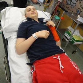 Jacob undergoing treatment in December 2011 at Leeds Children's Hospital