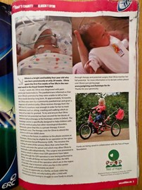 Olivia's claim to fame...she had a full page spread in the Cardiff Blues programme at a recent bucket collecting event.