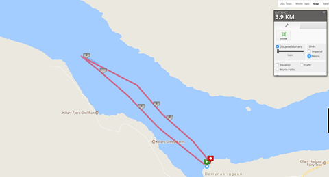 The Great Fjord Swim route