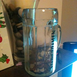 I've started a change jar to add to my sponsor money. It's a 1L Staropramen glass. Should hold a few pennies!