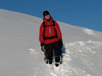 Descending in deep snow on Carn Sgulain