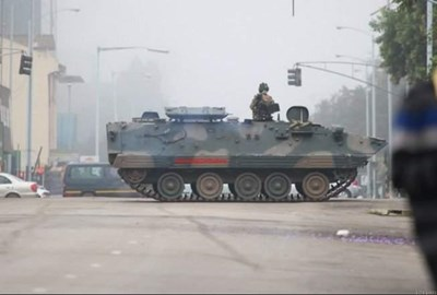 Tanks are deployed on the streets of Harare.