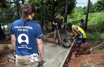 Building water tanks with funds from the Charitable Trust