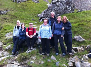 The group climbing Snowdon