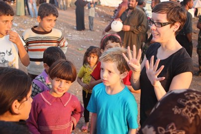My new friends in the refugee camp.