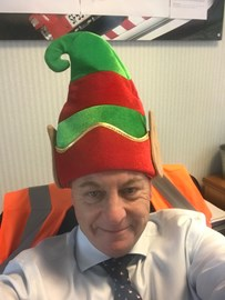 Director Steve Ashley preparing for the Santa Dash