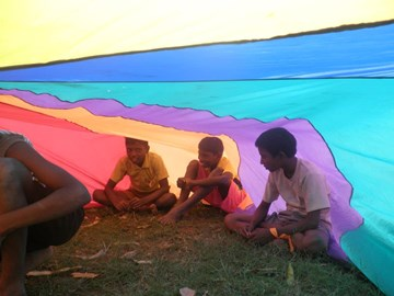 parachute fun with boys from YMCA orphanage