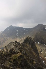 Part of the route, the Crib Goch ridge