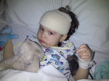 Olivia after her brain surgery x