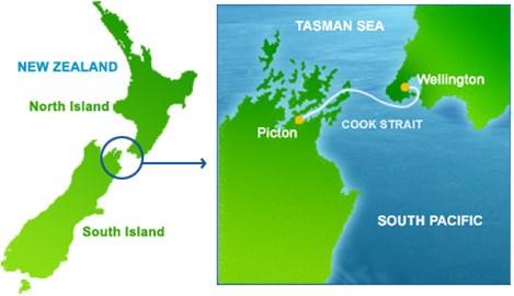 Map of 26km Cook Strait Swim