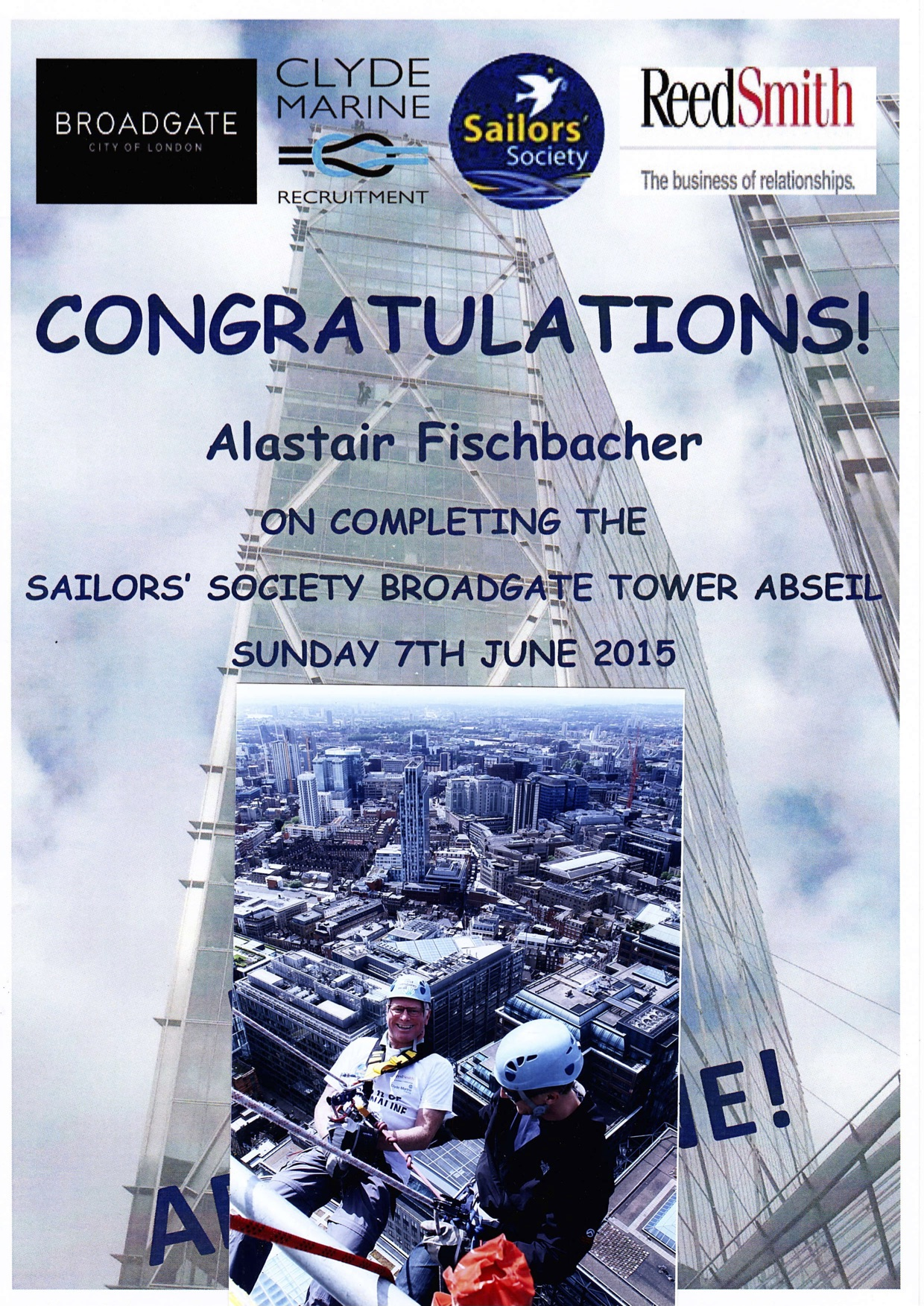 Alastair Fischbacher is fundraising for Sailors' Society