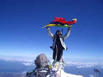 Jaysen on the summit of Elbrus, Russia