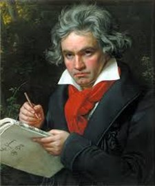 Beethoven writing out his cheque to JustGiving