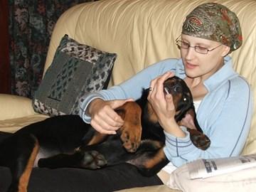 Helen with Rufus who kept her sane!