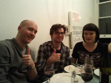 Lee, Jonno and Helen enjoying the food