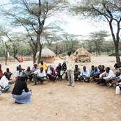 A meeting of a pastoralist community displaced from their traditional lands by armed conflict, Kenya