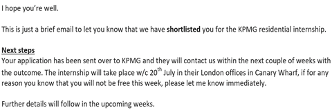 In the end I secured the summer internship on the KPMG Discovery Programme.