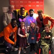 Box4Kids guests and Chairman Barrie Wells meeting X-Factor winners Rak-Su