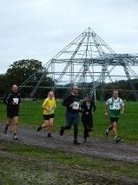 Running at Glastonbury festival site